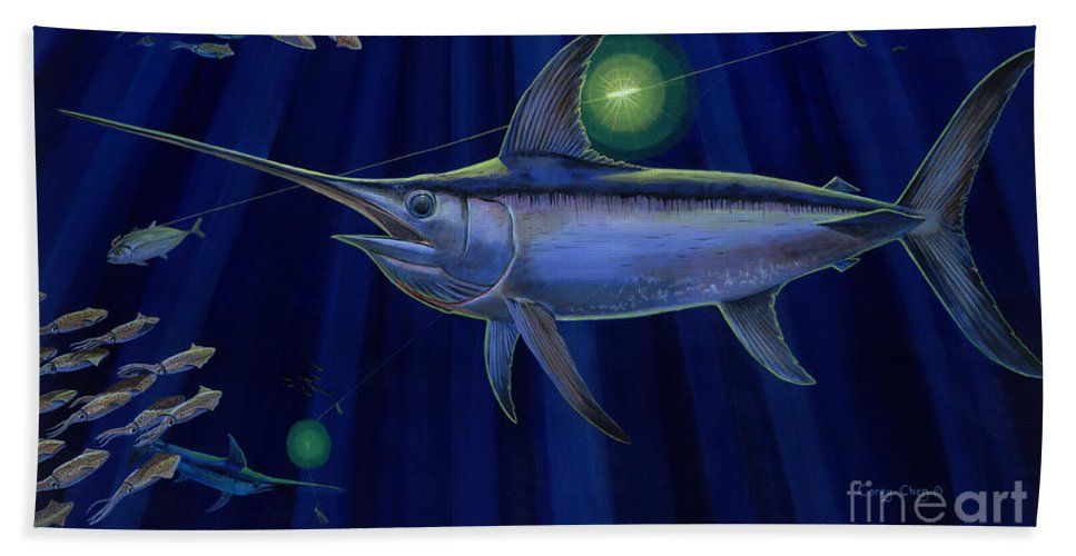 Swordfish Bath Sheet featuring the painting Night Life Off0026 by Carey Chen