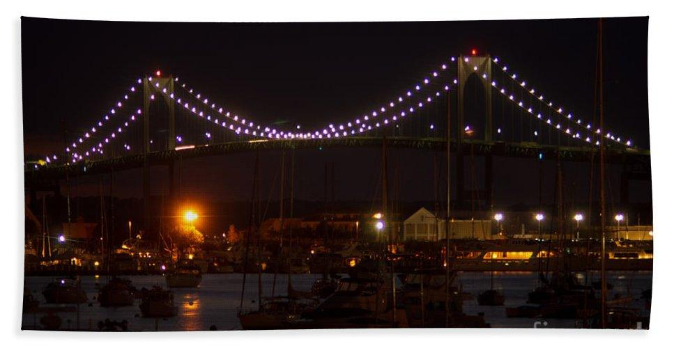 Bridge Hand Towel featuring the photograph Night Lights by Ray Konopaske