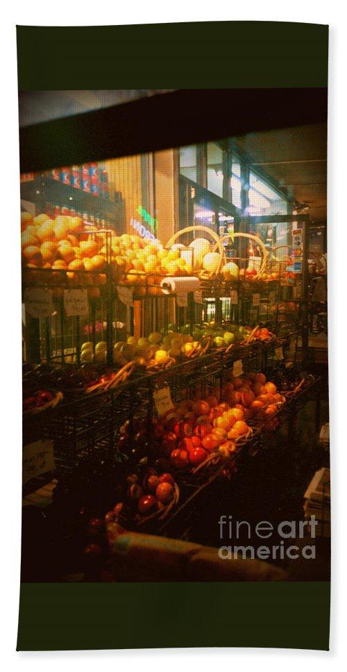 Bath Sheet featuring the photograph Night Market by Miriam Danar