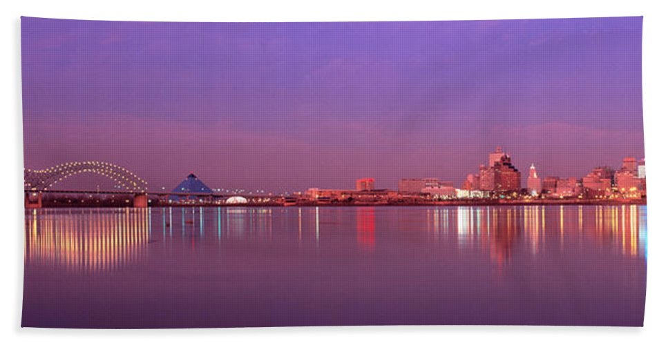 Photography Hand Towel featuring the photograph Night Memphis Tn by Panoramic Images