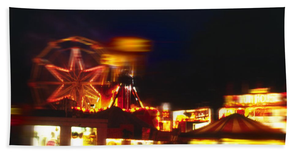 Funfair At Night Hand Towel featuring the painting Night Moves 2 by Charles Stuart