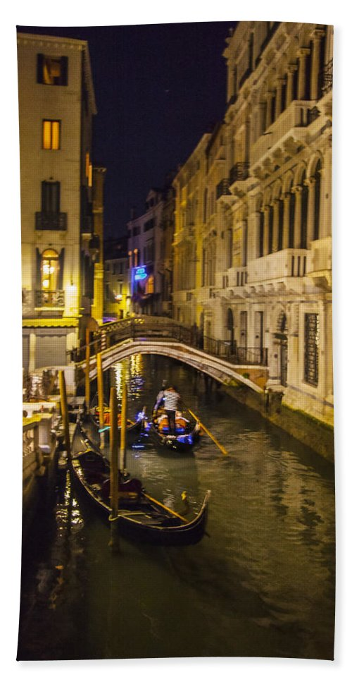 Venice Bath Sheet featuring the photograph Night On The Canal - Venice - Italy by Madeline Ellis