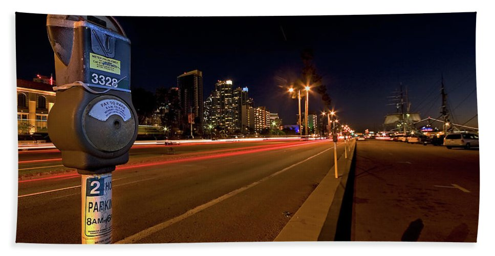 San Diego Bath Sheet featuring the photograph Night Parking Meter by Peter Tellone