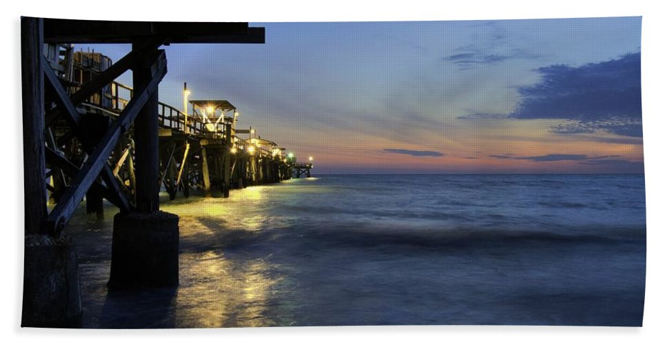 Pier Hand Towel featuring the photograph Night Pier by Matthew Fernandez