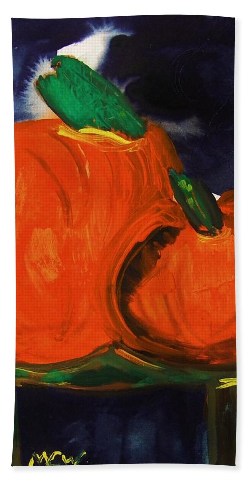 Pumpkins Bath Sheet featuring the painting Night Pumpkins by Mary Carol Williams
