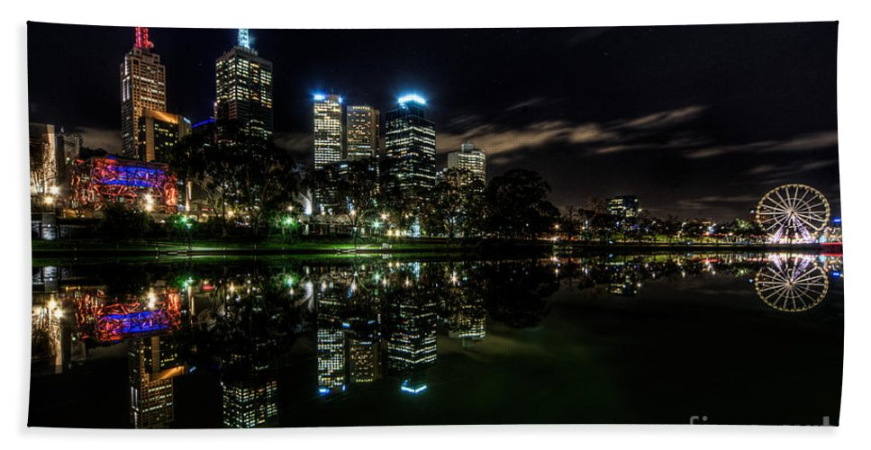 Melbourne Hand Towel featuring the photograph Night Reflections I by Ray Warren