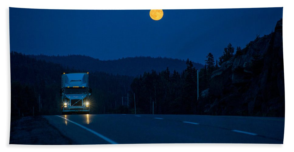 Transport Truck Bath Sheet featuring the photograph Night Rider by Doug Gibbons