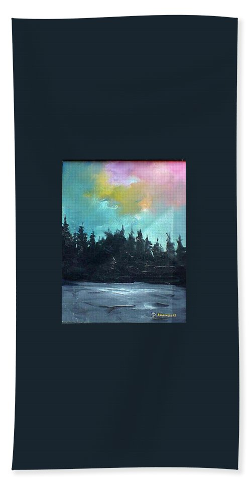 Landscape Bath Sheet featuring the painting Night River by Sergey Bezhinets