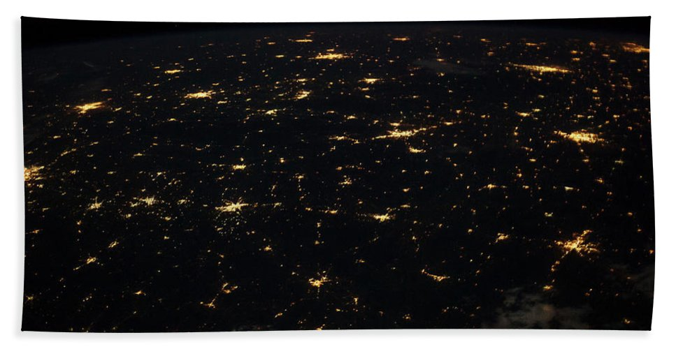 Photography Bath Sheet featuring the photograph Night Time Satellite Image Of Cities by Panoramic Images