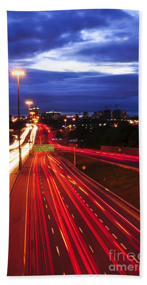 Traffic Bath Towel featuring the photograph Night Traffic by Elena Elisseeva
