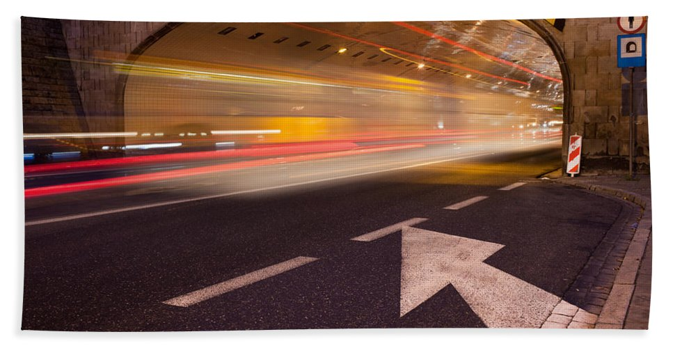 Warsaw Hand Towel featuring the photograph Night Traffic Light Trails In Warsaw by Artur Bogacki