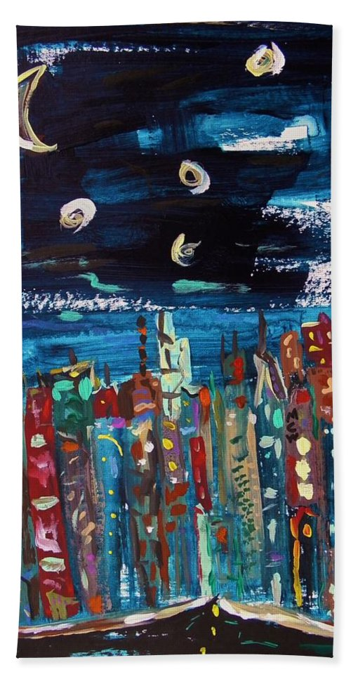 Moon Hand Towel featuring the painting Night Vision by Mary Carol Williams