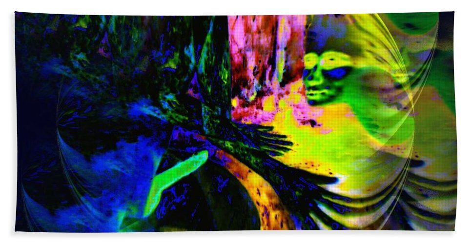 Genio Bath Sheet featuring the mixed media Nightly Rendezvous by Genio GgXpress