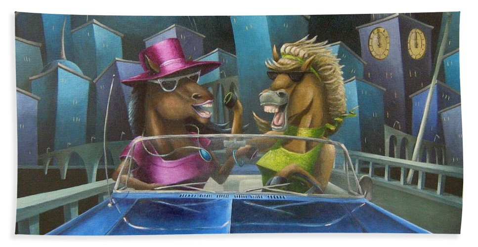Horse Hand Towel featuring the painting Nightmares by Eva Folks