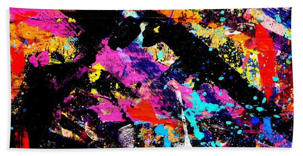 Abstract Bath Sheet featuring the painting Nighttown Xii by John Nolan