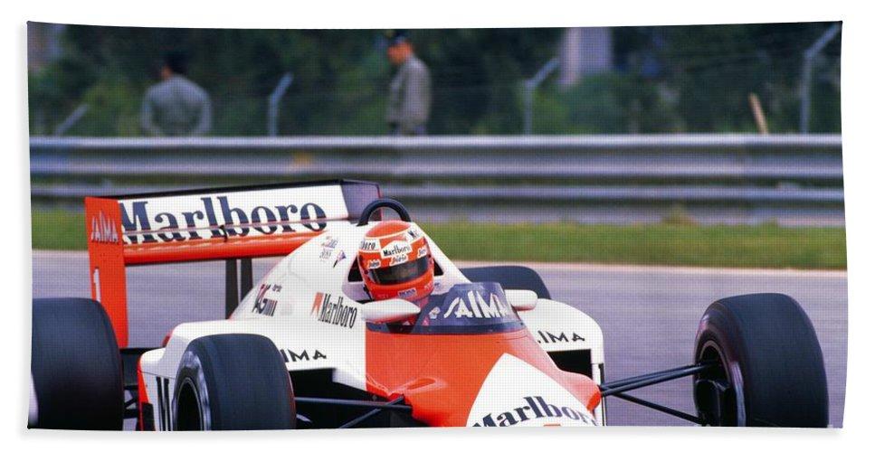 Niki Lauda Bath Sheet featuring the photograph Niki Lauda. 1985 Portuguese Grand Prix by Oleg Konin