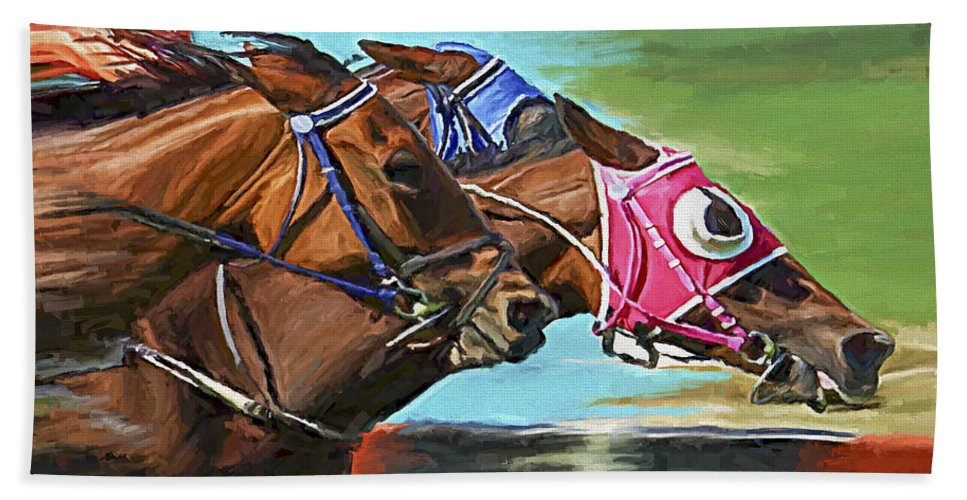 Horses Hand Towel featuring the painting Nikita By A Head by David Wagner