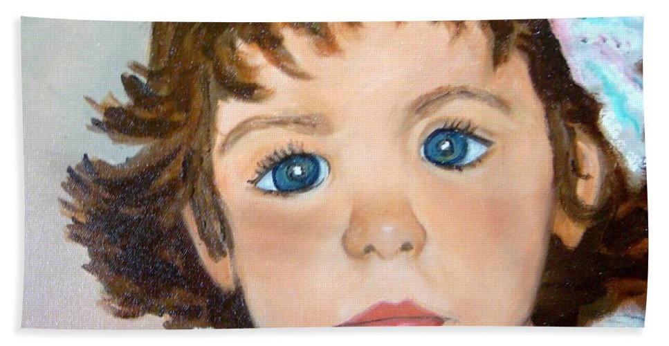 Portrait Hand Towel featuring the painting Nikki by Laurie Morgan