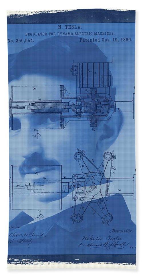 Regulator For Dynamo Electric Machine Patent Bath Sheet featuring the mixed media Nikola Tesla by Dan Sproul