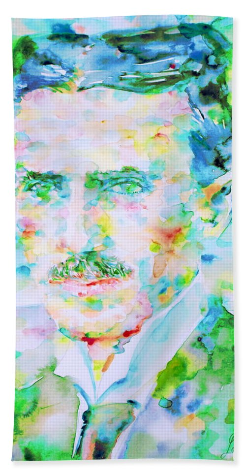 Nikola Hand Towel featuring the painting Nikola Tesla Watercolor Portrait by Fabrizio Cassetta