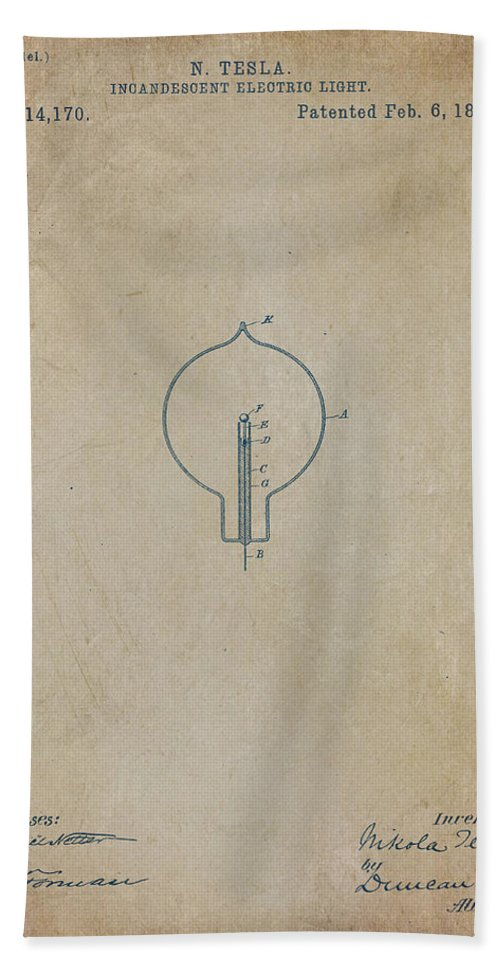 Wright Hand Towel featuring the digital art Nikola Tesla's Incandescent Electric Light Patent 1894 Aged by Paulette B Wright