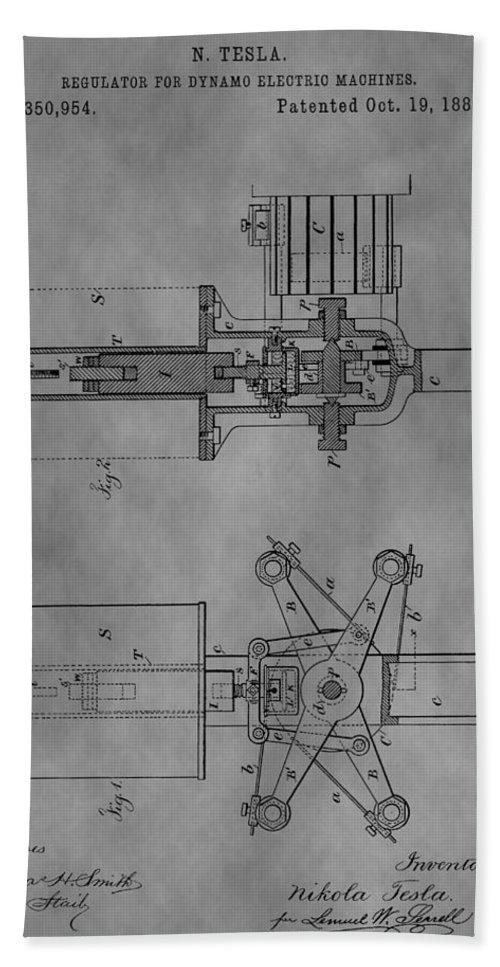 Regulator For Dynamo Electric Machine Patent Bath Sheet featuring the drawing Nikola Tesla's Patent by Dan Sproul
