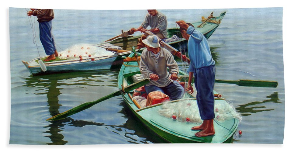 Realism Bath Sheet featuring the painting Nile River Fishermen by Ahmed Bayomi