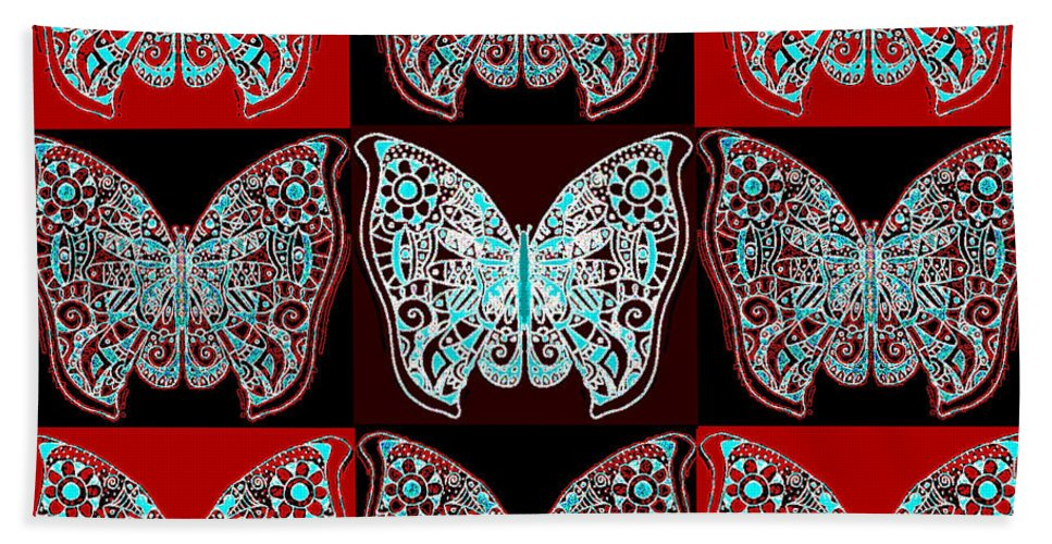 Butterfly Bath Sheet featuring the digital art Nine Lives - Variation 1 by Helena Tiainen