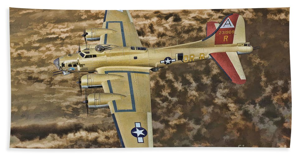 Boeing B-17 Flying Fortress Bath Sheet featuring the digital art Nine O Nine by Tommy Anderson