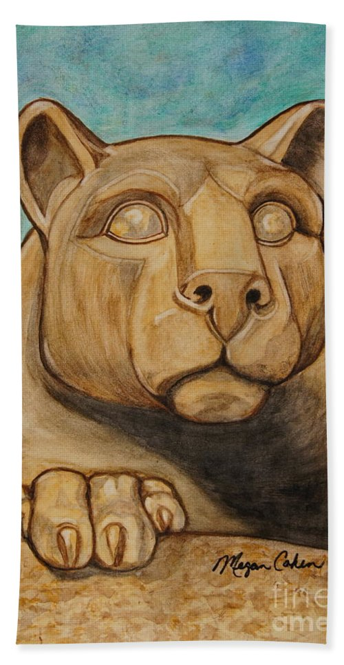 Lion Hand Towel featuring the painting Nittany Lion by Megan Cohen