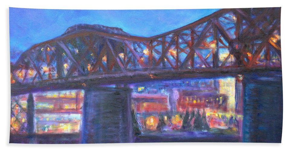 Sky Hand Towel featuring the painting City At Night Downtown Evening Scene Original Contemporary Painting For Sale by Quin Sweetman