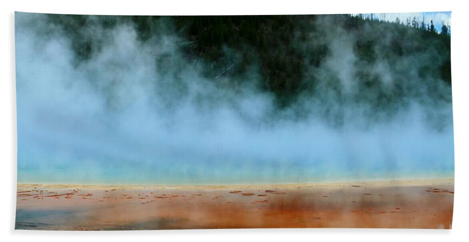 Yellowstone National Park Bath Sheet featuring the photograph No Diving by Catie Canetti
