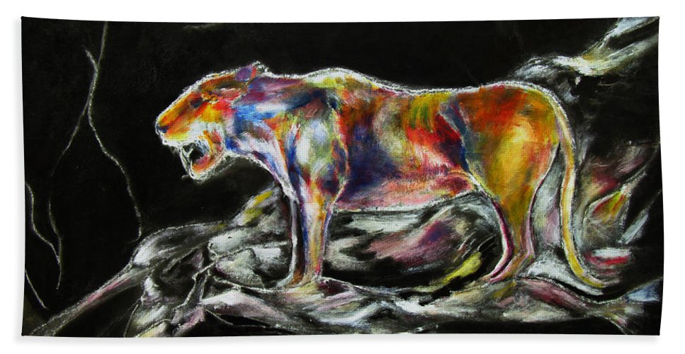 Animals Hand Towel featuring the painting No Fear by Tom Conway