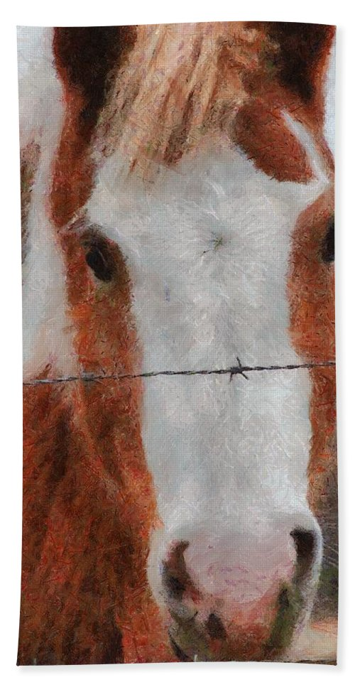 Barbed Wire Hand Towel featuring the painting No Fences by Jeffrey Kolker