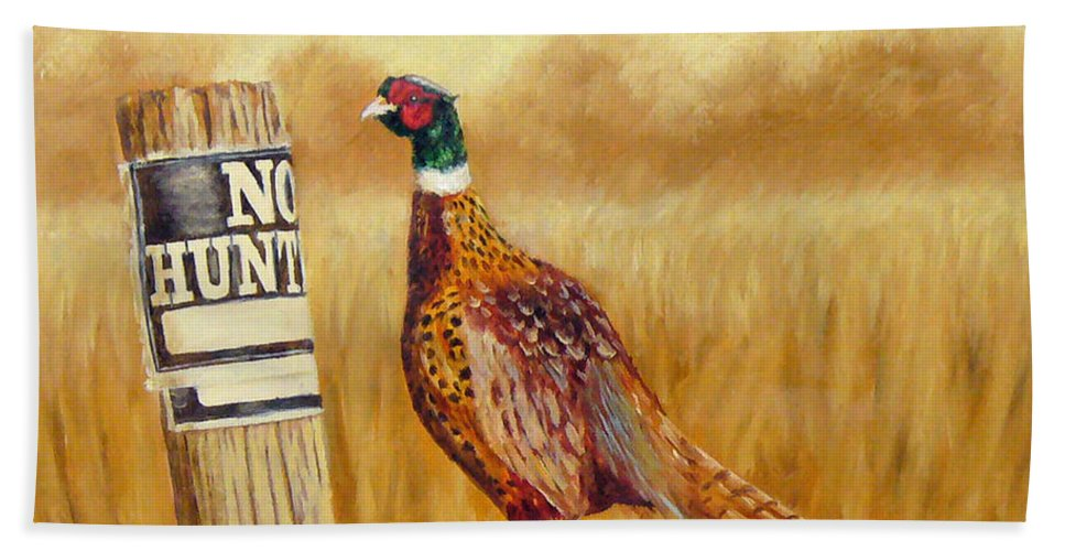 Pheasant Hand Towel featuring the painting No Hunting  Pheasant by Tom Chapman