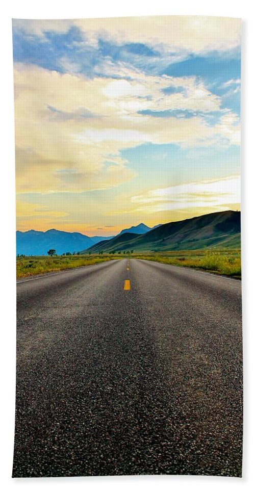 Open Road Hand Towel featuring the photograph No One Near by Catie Canetti