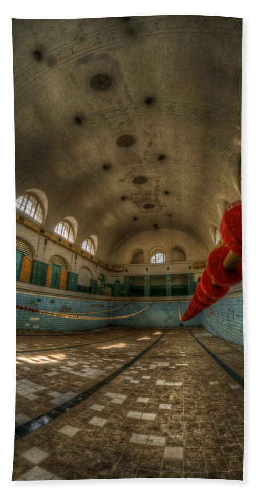 Abandoned Bath Sheet featuring the digital art No Swimming by Nathan Wright