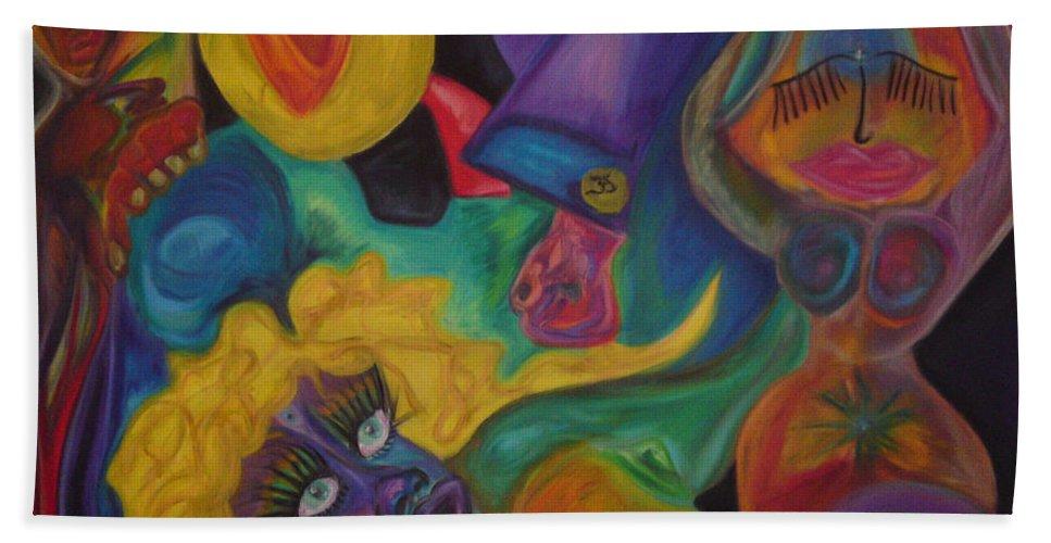 Hand Towel featuring the pastel No Titel by Sitara Bruns