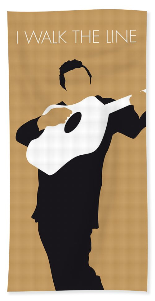 Johnny Hand Towel featuring the digital art No010 My Johnny Cash Minimal Music Poster by Chungkong Art