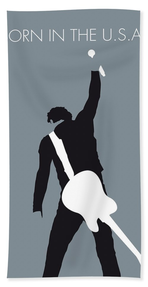 Bruce Hand Towel featuring the digital art No017 MY Bruce Springsteen Minimal Music poster by Chungkong Art
