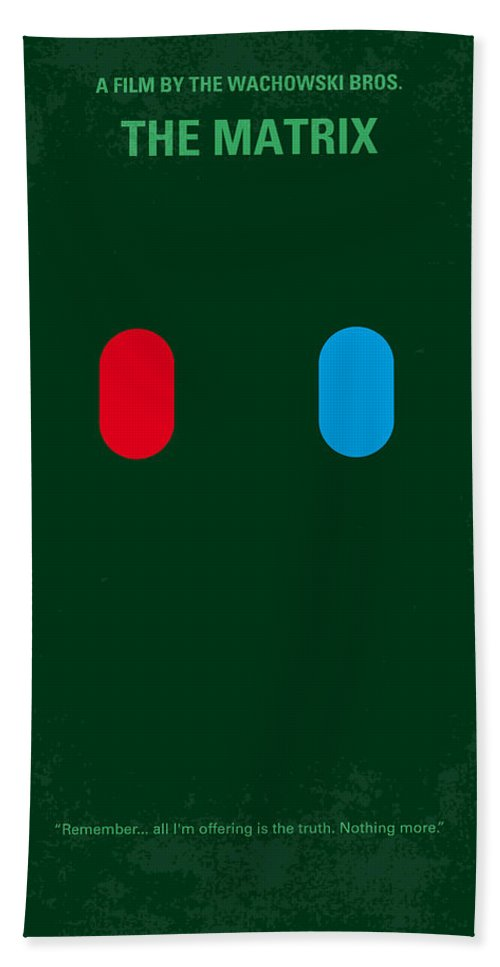 Matrix Hand Towel featuring the digital art No117 My Matrix Minimal Movie Poster by Chungkong Art