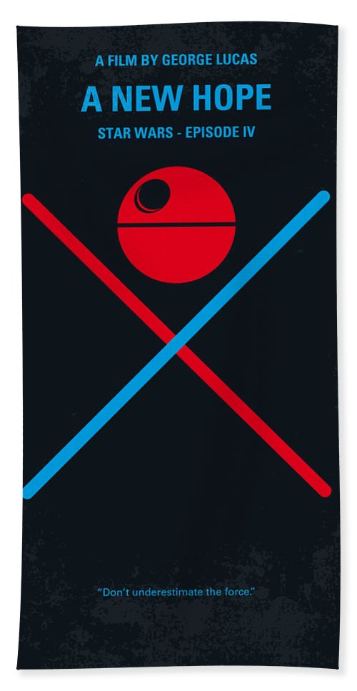 Star Bath Towel featuring the digital art No154 My STAR WARS Episode IV A New Hope minimal movie poster by Chungkong Art