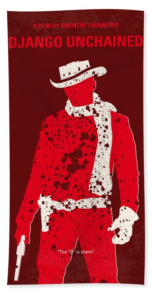 Django Bath Towel featuring the digital art No184 My Django Unchained Minimal Movie Poster by Chungkong Art