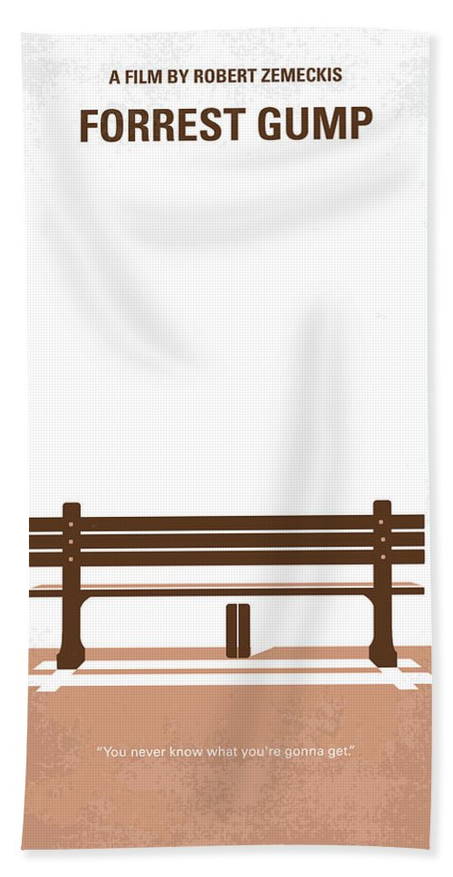 Forrest Bath Towel featuring the digital art No193 My Forrest Gump minimal movie poster by Chungkong Art