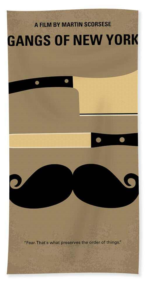 Gangs Hand Towel featuring the digital art No195 My Gangs of New York minimal movie poster by Chungkong Art