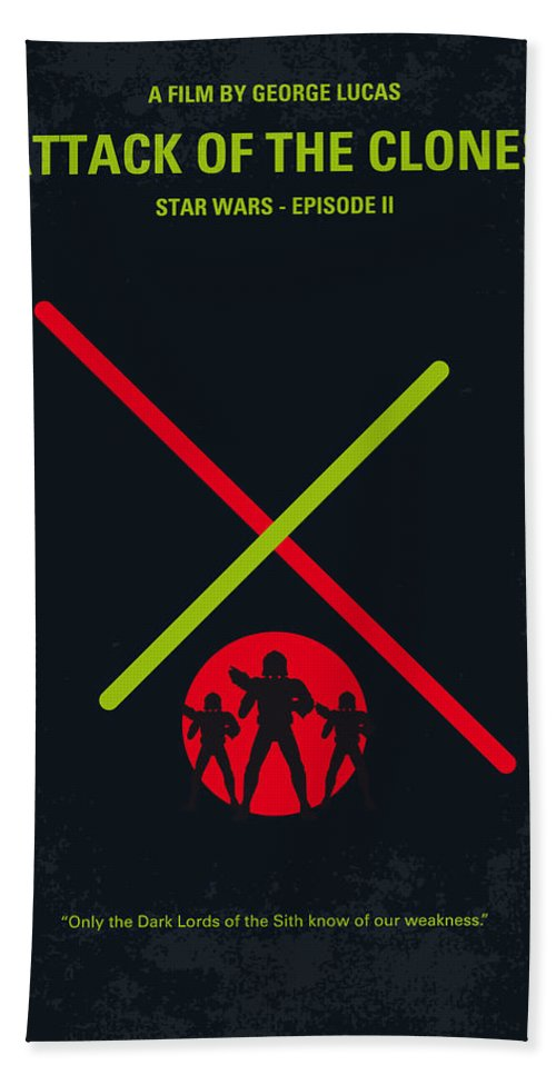 Star Bath Towel featuring the digital art No224 My Star Wars Episode II Attack Of The Clones Minimal Movie Poster by Chungkong Art