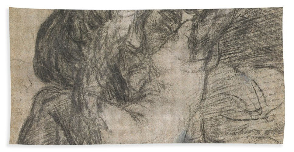 Renaissance Hand Towel featuring the drawing Couple In An Embrace by Titian