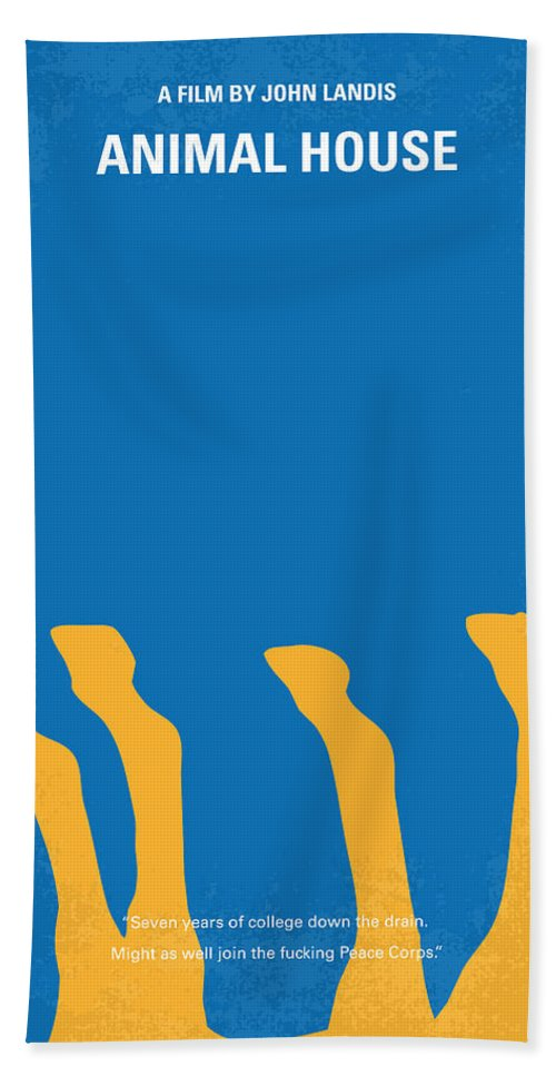 Animal Hand Towel featuring the digital art No230 My Animal House Minimal Movie Poster by Chungkong Art