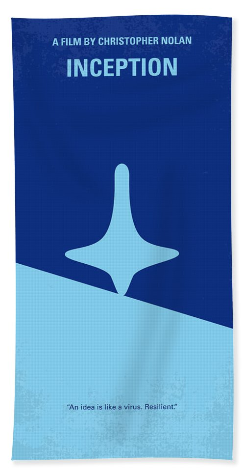 Inception Bath Towel featuring the digital art No240 My Inception minimal movie poster by Chungkong Art