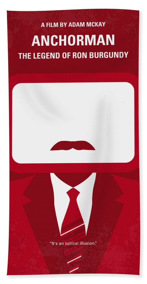 Anchorman Hand Towel featuring the digital art No278 My Anchorman Ron Burgundy Minimal Movie Poster by Chungkong Art